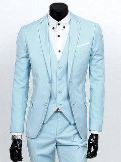 Lapel Single Breasted Three-Piece Suit - Azure L