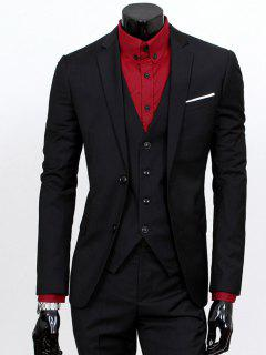 Lapel Single Breasted Three-Piece Suit - Black L