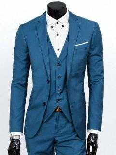Lapel Single Breasted Three-Piece Suit - Lake Blue M
