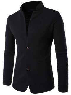 Applique Sleeve Stand Collar Textured Blazer - Black L