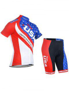 Flag Print Short Sleeve Jacket + Color Block Shorts Jerseys Twinset For Men - S