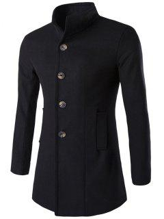 Slim-Fit Stand Collar Wool Blend Coat - Black Xl