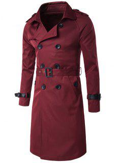 Epaulet Design Double Breasted Long Trench Coat - Wine Red 2xl