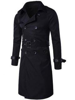 Epaulet Design Double Breasted Long Trench Coat - Black M
