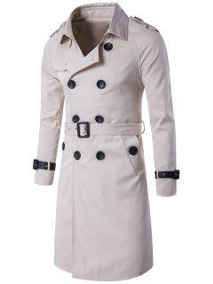 Epaulet PU-Leather Belt Embellished Double-Breasted Long Trench Coat - Off-white M