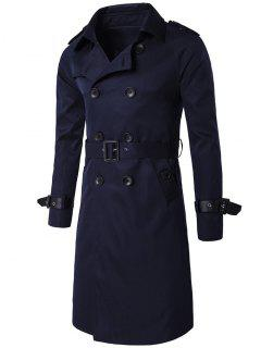 Epaulet PU-Leather Belt Embellished Double-Breasted Long Trench Coat - Cadetblue 3xl
