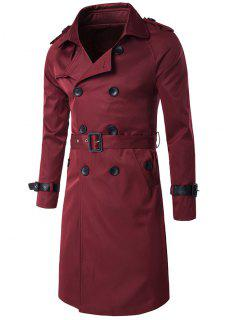 Epaulet PU-Leather Belt Embellished Double-Breasted Long Trench Coat - Wine Red M