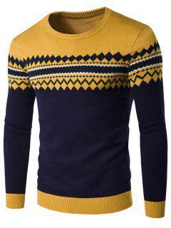 Crew Neck Color Block Geometric Knitwear - Yellow M