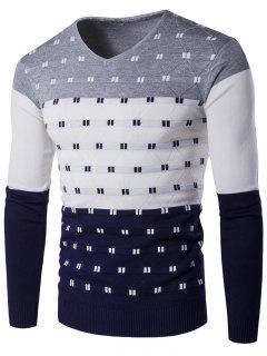 V-Neck Geometric Pattern Color Block Sweater - Gray 2xl