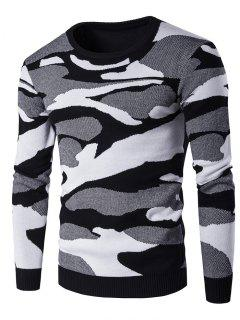 Crew Neck Camouflage Pattern Long Sleeve Sweater - Black L