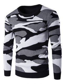 Crew Neck Camouflage Pattern Long Sleeve Sweater - Black M