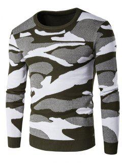 Crew Neck Camouflage Pattern Long Sleeve Sweater - Green L