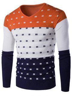 V-Ausschnitt Farbblock Pullover Mit Geometrischem Muster  - Orange  L