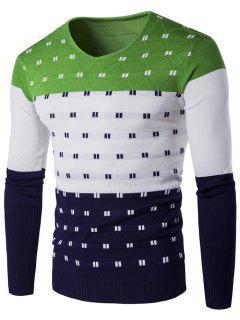 Col En V Motif Géométrique Color Block Sweater - Vert Xl