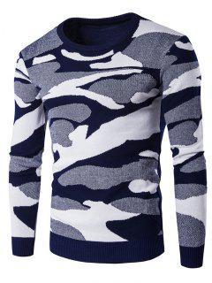 Motif Ras Du Cou Camouflage Chandail à Manches Longues - Bleu M