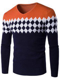 V-Ausschnitt Rautenmuster Color Block Sweater - Orange  2xl