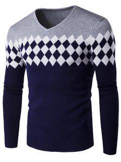 V-Neck Rhombus Pattern Color Block Sweater - Gray L