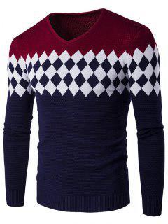 V-Neck Rhombus Pattern Color Block Sweater - Wine Red M