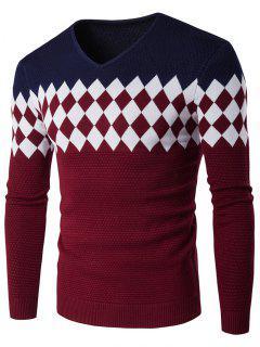 V-Neck Rhombus Pattern Color Block Sweater - Cadetblue M