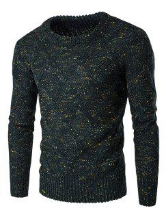Crew Neck Colorful Kink Design Long Sleeve Sweater - Blackish Green L