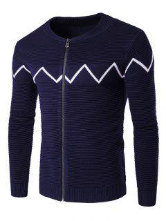 Crew Neck Waviness Knitting Splicing Zip-Up Cardigan - Cadetblue Xl