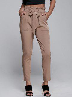 High Waisted Belted Narrow Feet Pants - Khaki L