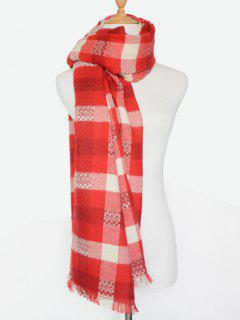 Plaid Pattern Fringed Shawl Scarf - Red