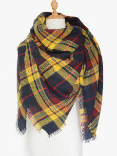 Tartan Pattern Fringed Shawl Scarf - Yellow