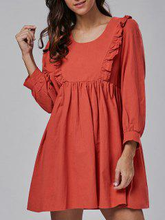 Long Sleeve Flounce Smock Dress - Jacinth