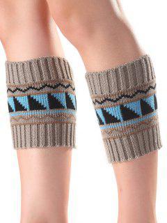 Triangle Wavy Pattern Knit Boot Cuffs - Gray
