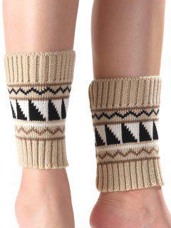 Triangle Wavy Pattern Knit Boot Cuffs - Apricot