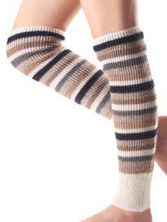 Multicolor Stripe Knit Leg Warmers - Light Apricot