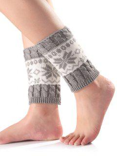 Christmas Snowflake Knit Boot Cuffs - Light Gray