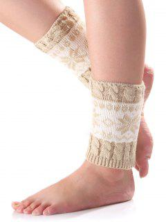 Christmas Snowflake Knit Boot Cuffs - Off-white