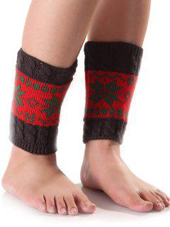 Christmas Snowflake Knit Boot Cuffs - Red