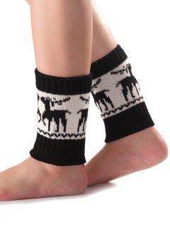 Christmas Deer Knit Boot Cuffs - Black