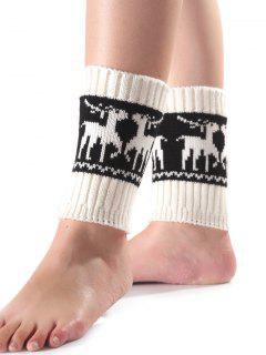 Christmas Deer Knit Boot Cuffs - White