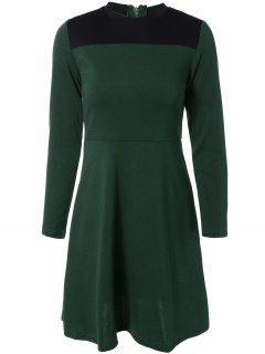 Contrast Yoke Long Sleeve Dress - Green S