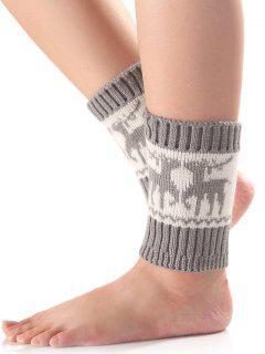 Christmas Deer Knit Boot Cuffs - Light Gray