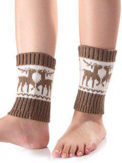 Christmas Deer Knit Boot Cuffs - Khaki