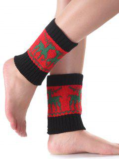 Christmas Deer Knit Boot Cuffs - Red