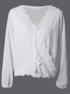 Lâche Splicing Lace Wrap Blouse - Blanc S