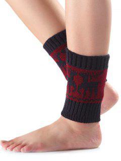 Christmas Deer Knit Boot Cuffs - Cadetblue