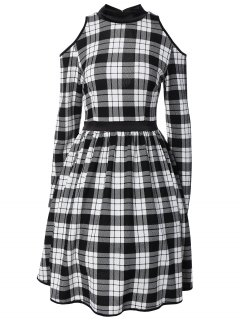 Back Cutout Cold Shoulder Checked Dress - Plaid M