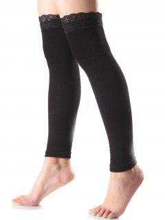 Lace Edge Smooth Leg Warmers - Black