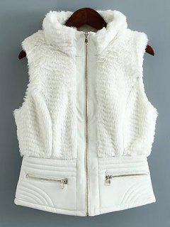 PU Leather Spliced Faux Fur Waistcoat - White S