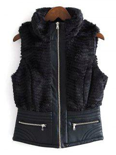 PU Leather Spliced Faux Fur Waistcoat - Black L