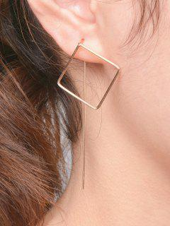 Hollow Out Square Earrings - Golden
