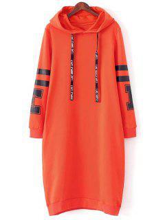 Graphic Hoodie Dress - Orange Red L