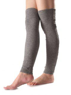 Long Knit Leg Warmers - Gray